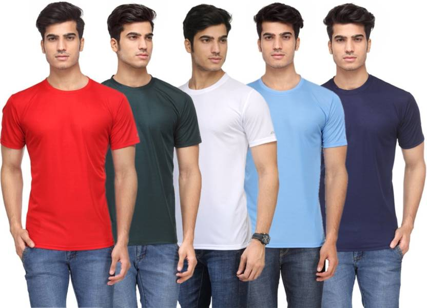d1a8e61a1d4 Rico Sordi Solid Men s Round Neck Multicolor T-Shirt (Pack of 5)