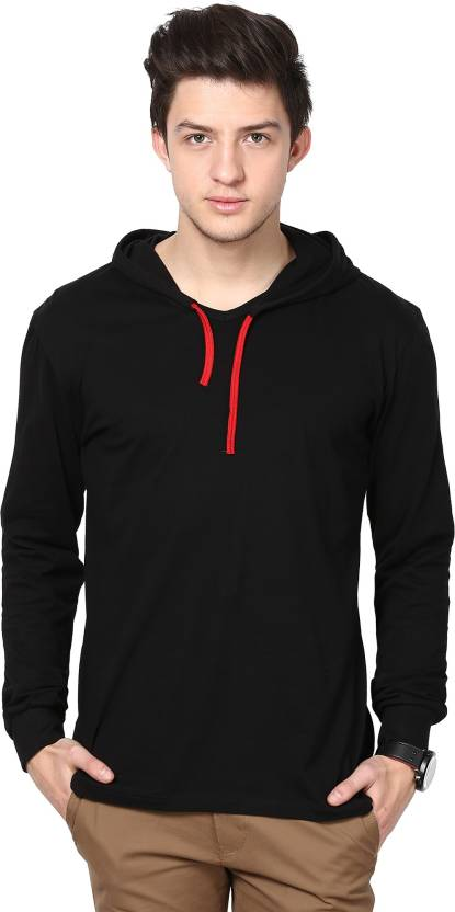 Inkovy Solid Men's Hooded Black T-Shirt