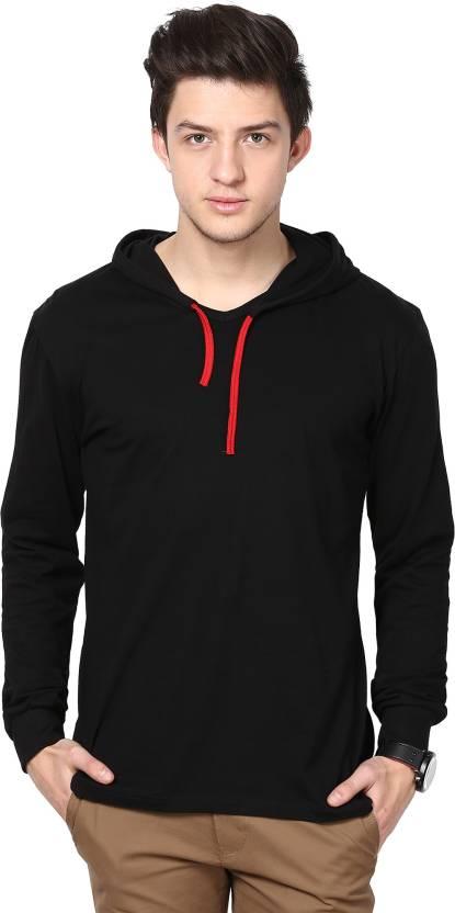 Inkovy Solid Men's Hooded Black T-Shirt - Buy Black Inkovy Solid ...