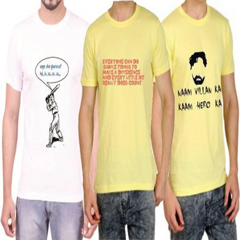 ae8156dfa Teeswood Graphic Print Men's Round Neck White, Yellow T-Shirt (Pack of 3)