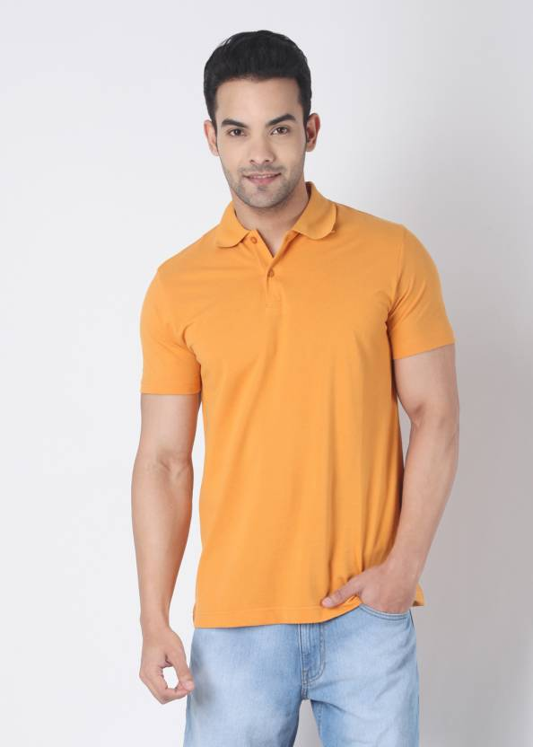 Rat Trap Solid Men's Polo Neck Yellow T-Shirt