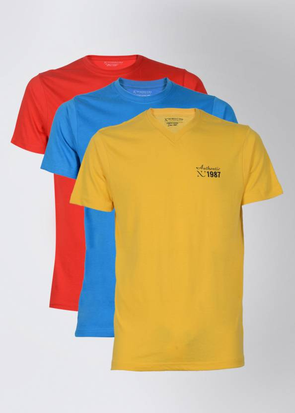 148dbbd3 Numero Uno Solid Men's Round Neck T-Shirt - Buy Yellow, Blue, Red ...