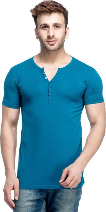 Tinted Solid Men's Henley Blue T-Shirt
