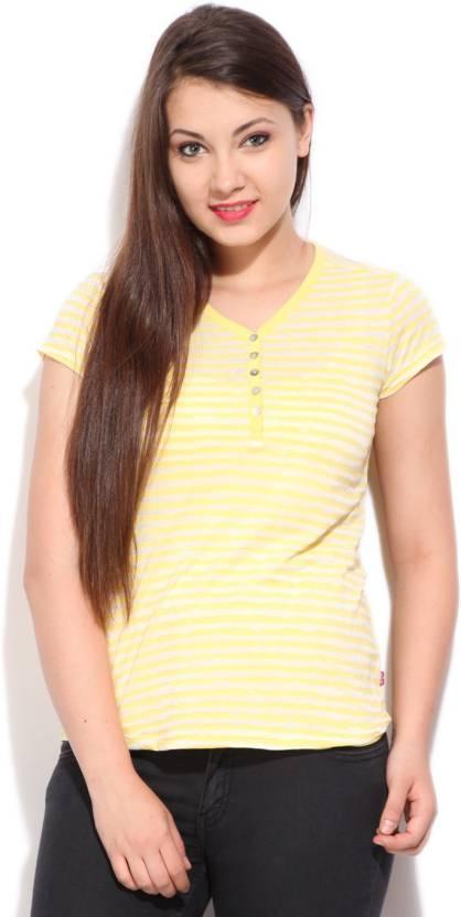 Levi's Striped Women's Round Neck White, Yellow T-Shirt