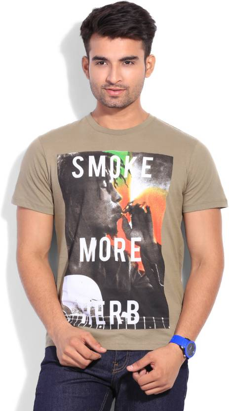 Bob Marley Printed Men S Round Neck Beige T Shirt
