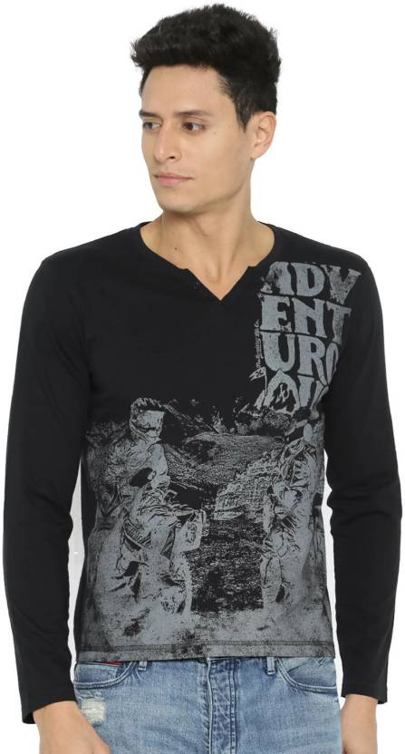 Roadster Printed Mens Round Neck Multicolor T-Shirt