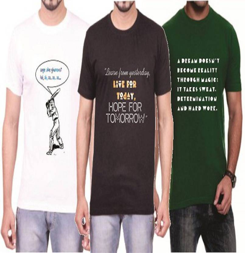 9e50b4d2a Teeswood Graphic Print Men's Round Neck White, Black, Green T-Shirt (Pack  of 3)