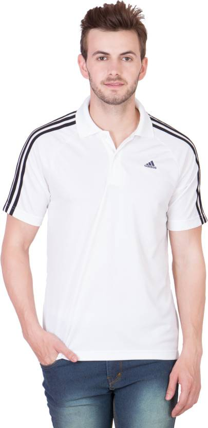 a2b113c0c ADIDAS Solid Men's Polo Neck White, Black T-Shirt - Buy White-Black ADIDAS  Solid Men's Polo Neck White, Black T-Shirt Online at Best Prices in India  ...