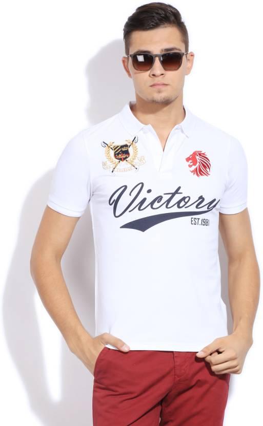 85a35a518 Giordano Printed Men's Polo Neck White T-Shirt - Buy WHITE Giordano ...