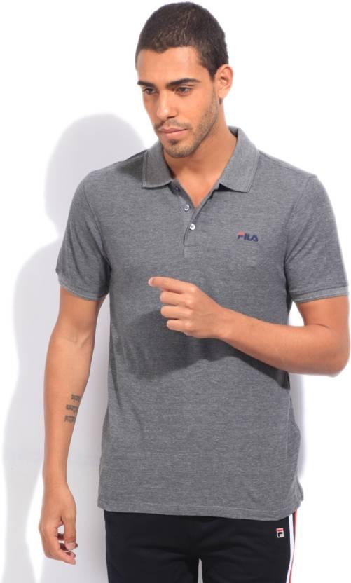 Fila Solid Men's Polo Neck Grey T-Shirt - Buy MID GRY MEL ...