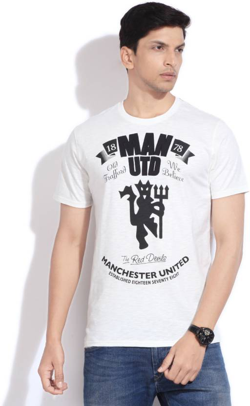 f2171eb74 Manchester United Printed Men s Round Neck White T-Shirt - Buy Off White Manchester  United Printed Men s Round Neck White T-Shirt Online at Best Prices in ...