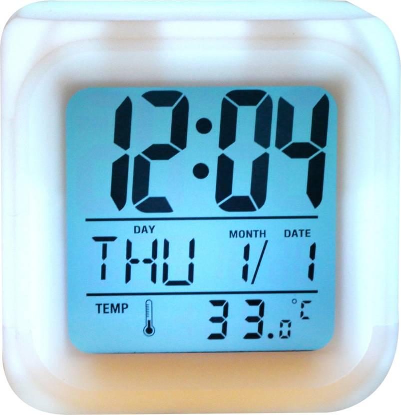 Wallace Glow Color Change Led Alarm Clock Calendar Temperature Desktop Digital Clocks Table Backlight Light Decoration