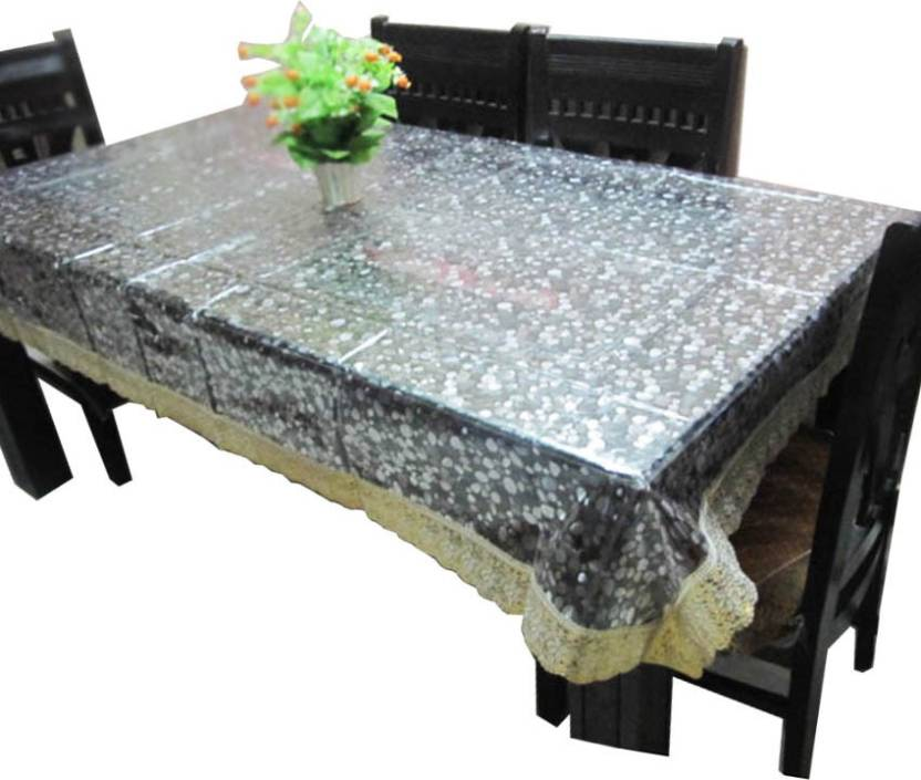 Kuber Industries Floral 6 Seater Table Cover Transparent, Plastic