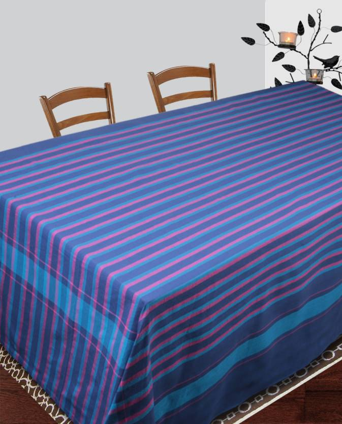 Dhrohar Striped 4 Seater Table Cover Blue, Cotton