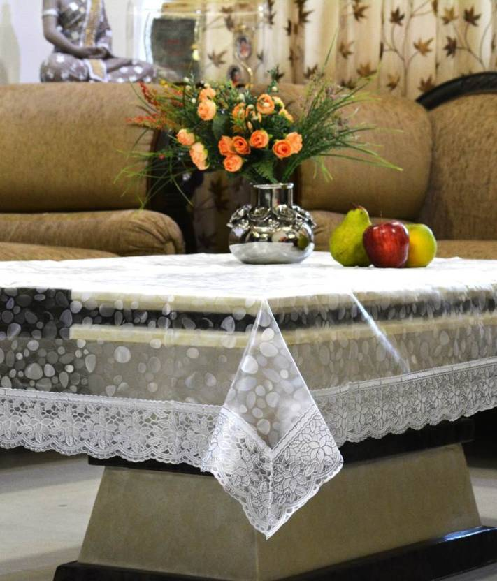 Kuber Industries Floral 4 Seater Table Cover Transparent, PVC