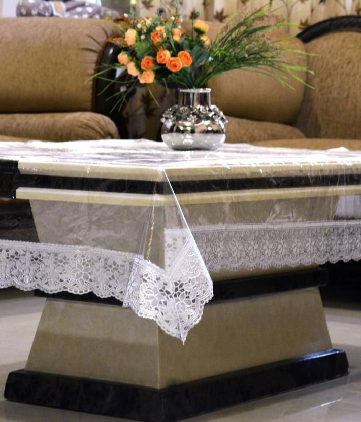 Kuber Industries Solid 4 Seater Table Cover Transparent, Plastic