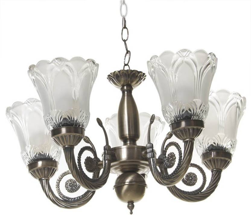 Propitup 5 Lamp Antique Design Br Chandelier Night 25 Cm Brownish Yellow