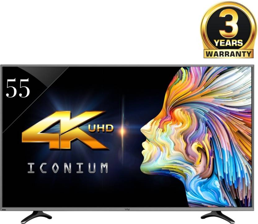 Vu 140cm (55) Ultra HD (4K) Smart LED TV At Just Rs.54999 + Upto Rs.22000 Off on Exchange By Flipkart | Vu 140cm (55) Ultra HD (4K) Smart LED TV  (LTDN55XT780XWAU3D, 4 x HDMI, 3 x USB) @ Rs.54,999