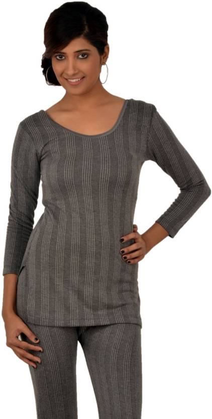 872f04db8 ... Women s Top - Buy Charcoal Melange Lux Inferno Charcoal Melange 3  Quarters Round Neck Long Women s Top Online at Best Prices in India