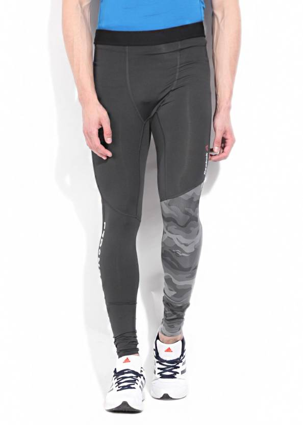 da088d9fb5b37 REEBOK Printed Men's Grey Tights - Buy Black REEBOK Printed Men's Grey  Tights Online at Best Prices in India | Flipkart.com