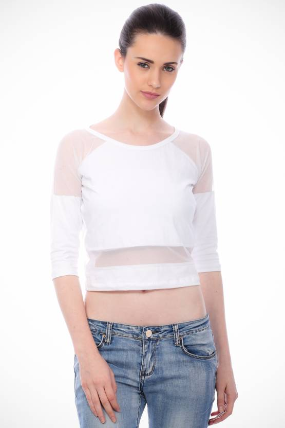 7f07607c9af Cation Casual Short Sleeve Solid Women s White Top - Buy Cation Casual  Short Sleeve Solid Women s White Top Online at Best Prices in India