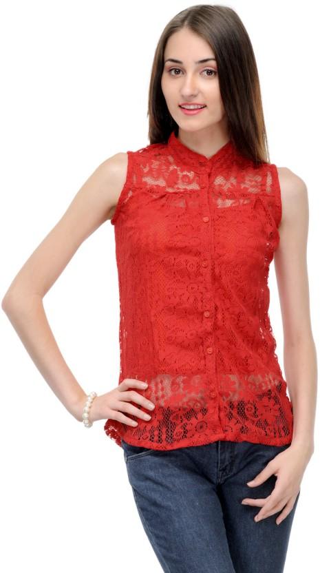 85dc0b9733 Klick casual sleeveless self design womens red top buy red klick jpeg  465x832 Casual sleeveless