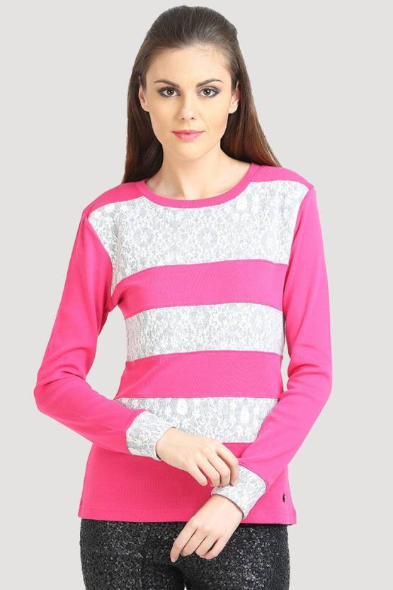 482033e9c8c913 Moda Elementi Casual Full Sleeve Striped Women's Pink Top - Buy Bubble Gum Pink  Moda Elementi Casual Full Sleeve Striped Women's Pink Top Online at Best ...