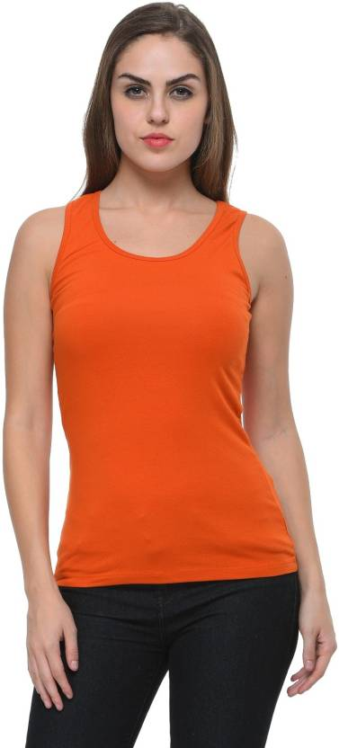 ec3c359c7bb1d0 Frenchtrendz Casual Sleeveless Solid Women s Orange Top - Buy ...