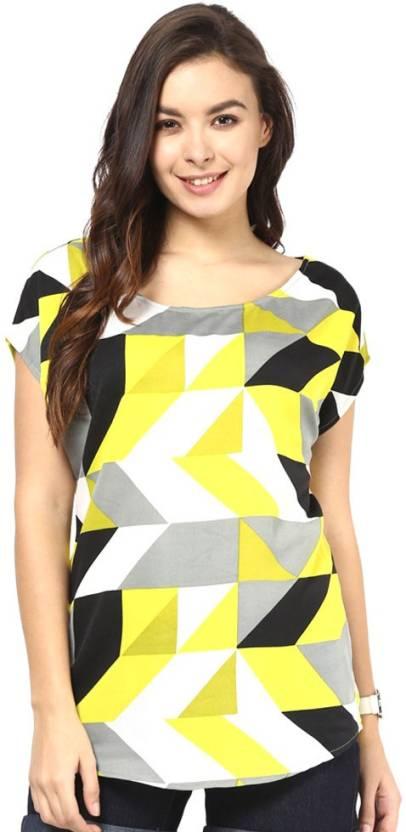 7f88be71 Fashion By Netanya Casual Cap Sleeve Geometric Print Women's Yellow Top -  Buy Black Fashion By Netanya Casual Cap Sleeve Geometric Print Women's  Yellow Top ...