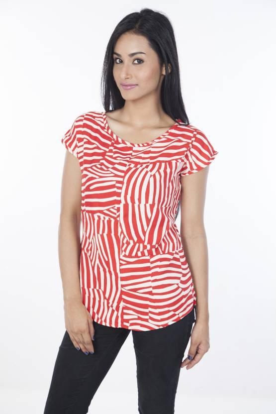 IDENTITI Casual Sleeveless Animal Print Women's Red, White Top