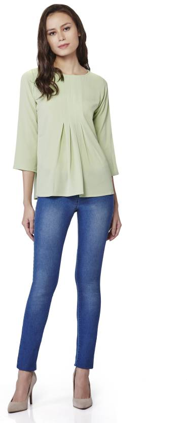 AND Formal Roll-up Sleeve Solid Women's Light Green Top