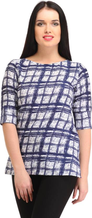 Cottinfab Casual 3/4th Sleeve Checkered Women's Blue, White Top