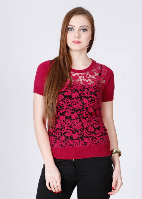 French Connection Casual Short Sleeve Self Design Women s Pink Top - Buy Pink  French Connection Casual Short Sleeve Self Design Women s Pink Top Online  at ... d3e581636