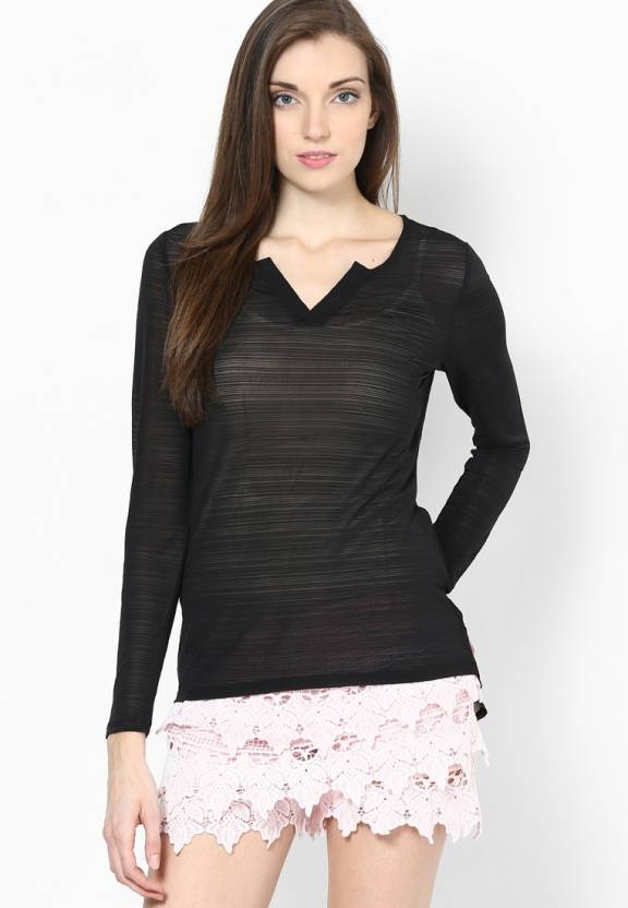 f1434115fccc4 Vero Moda Solid Women s V-neck Black T-Shirt - Buy Black Vero Moda Solid  Women s V-neck Black T-Shirt Online at Best Prices in India