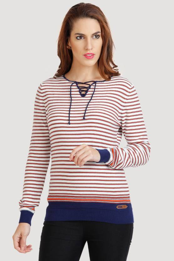 8c4503b492e Moda Elementi Casual Full Sleeve Striped Women s Orange