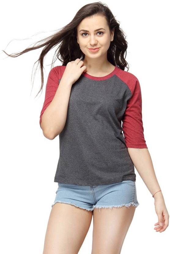 Campus Sutra Casual 3/4th Sleeve Solid Womens Maroon Top