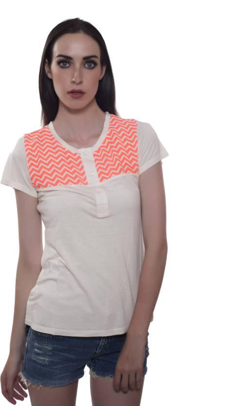 d62af64ba56 Cherymoya Casual Short Sleeve Printed Women's Beige Top