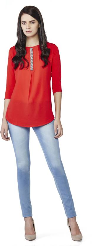 AND Casual 3/4th Sleeve Solid Women's Red Top