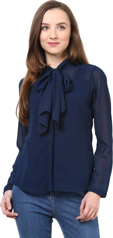 Rare Casual Full Sleeve Solid Women's Blue Top