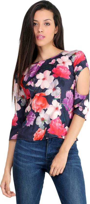 Unclad Casual 3/4th Sleeve Floral Print Women's Multicolor Top