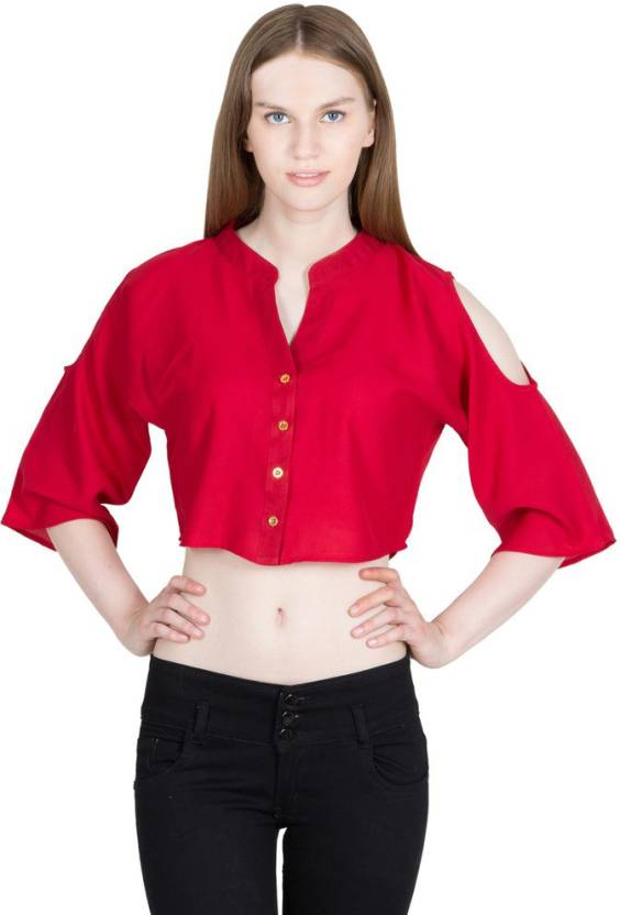 e7cb805a8e9 Global Elle Casual Cap Sleeve Solid Women s Red Top - Buy Red Global Elle  Casual Cap Sleeve Solid Women s Red Top Online at Best Prices in India