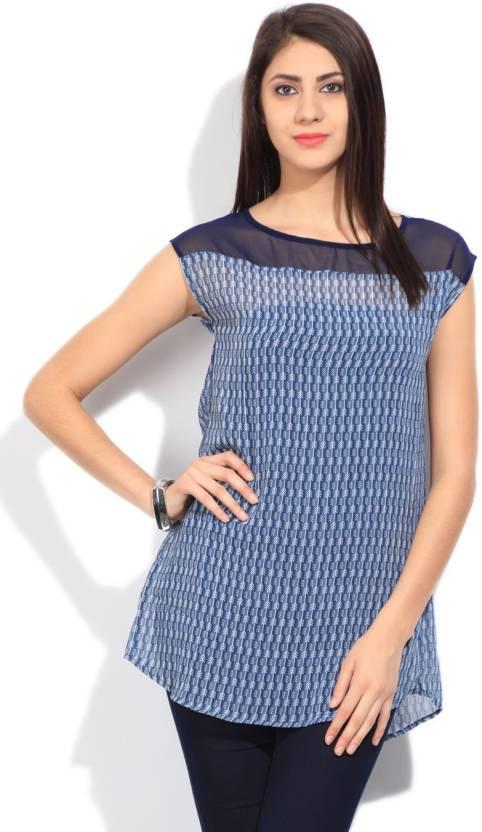 People Casual Cap Sleeve Printed Women's Blue Top