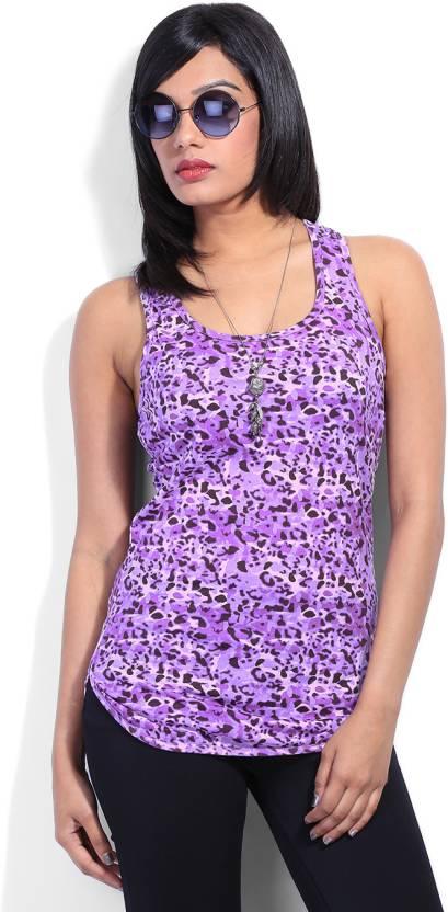 Flippd Casual Sleeveless Printed Women's Purple Top