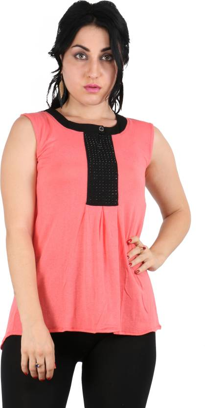 93a07b0e0b Queens Collections Casual Sleeveless Embellished Women s Pink Top - Buy Pink  Queens Collections Casual Sleeveless Embellished Women s Pink Top Online at  ...