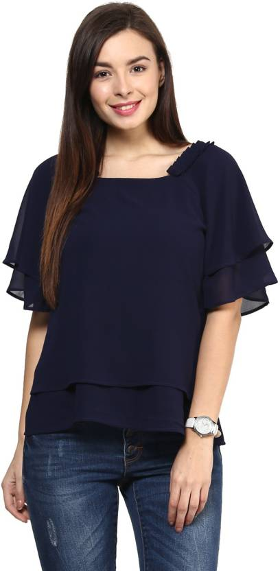 bf5ae90ec2aff Rare Casual Kimono Sleeve Solid Women s Blue Top - Buy Navy Blue Rare  Casual Kimono Sleeve Solid Women s Blue Top Online at Best Prices in India