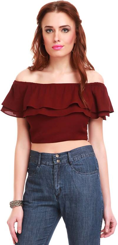 19fac4fee01056 Sassafras Party Cape Sleeve Solid Women s Maroon Top - Buy Maroon Sassafras  Party Cape Sleeve Solid Women s Maroon Top Online at Best Prices in India  ...