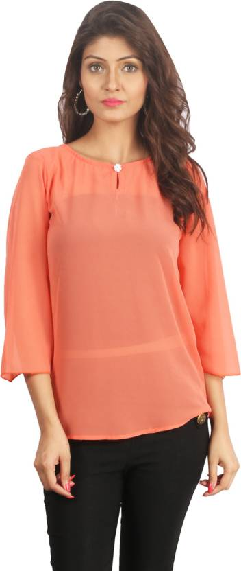 Fabinbox Casual Bell Sleeve Solid Women's Orange Top