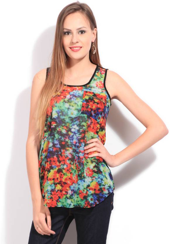 People Casual Sleeveless Floral Print Women's Multicolor Top