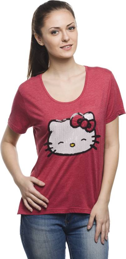 45f204f50 Hello Kitty Casual Short Sleeve Graphic Print Women's Red Top - Buy ...
