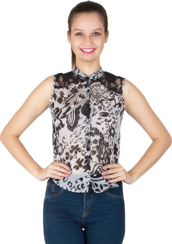 Ausehen Casual Sleeveless Printed Women's Black Top
